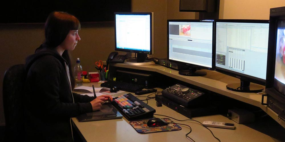 Fidelma Corkery at work in one of Whitebait's five edit suites