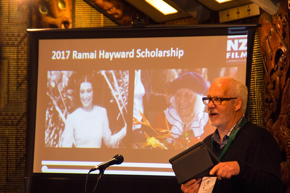The NZFC's Dave Gibson announces the Ramai Hayward Scholarship for Maori women directors    Photo: Linda T