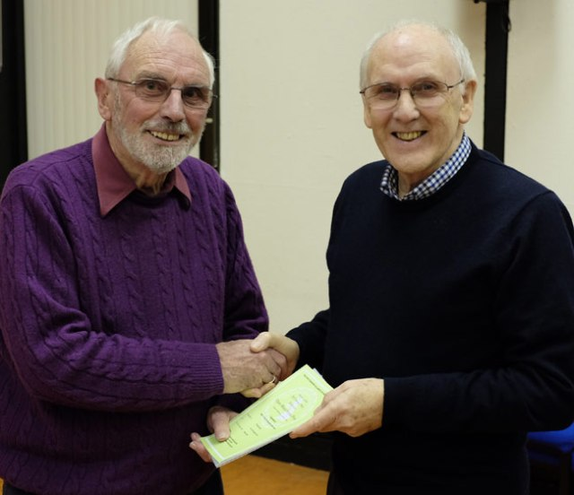 Wallace Baxter LRPS (left) gets his certificate from CPS secretary, Tom Seaton
