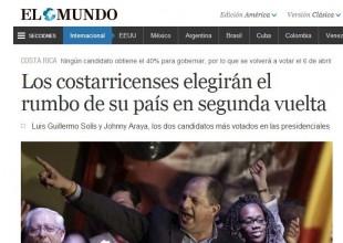 El diario El Mundo de España destacó la realización de una segunda ronda electoral. CRH