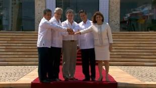 La mandataria compartió con sus homólogos de los cuatro países. (Foto de Alianza del Pacífico.)