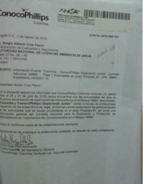 EN SAN MARTÍN, CONOCOPHILLIPS BUSCA ADELANTAR FRACKING JUNTO A POLICÍA Y FFMM