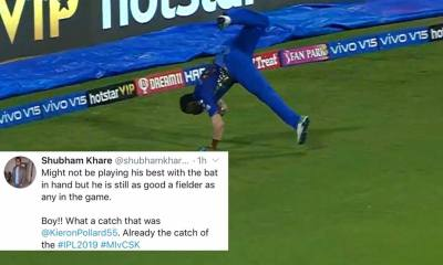 Twitter is in awe of Kieron Pollard's stunning catch to dismiss Suresh Raina