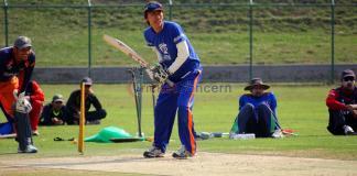 Sakti Gauchan during preparation for World Cricket League against Namibia at TU ground kritipur
