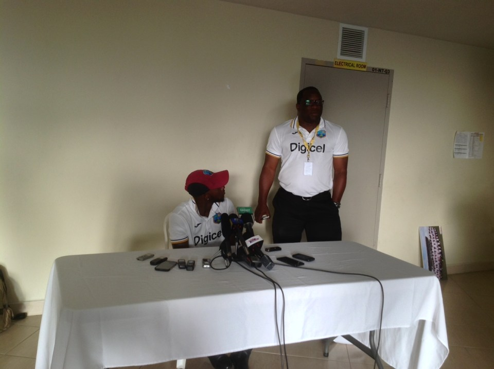 Post match press conference at Sabina Park on Day 2 of the 2nd Test match between West Indies and Australia. WI Media Manager Philip Spooner is beside Blackwood.