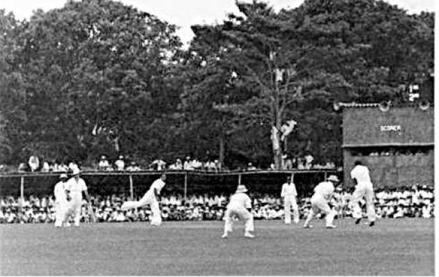 Ben Navaratne stands up to the stumps as Sathy Coomaraswamy bowls Don Bradman.