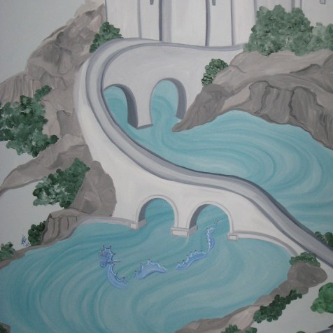 A winding bridge crosses the ancient moat as a camouflaged water dragon passes beneath