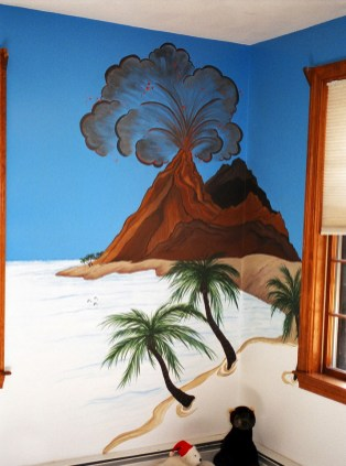 Volcano painted between two windows