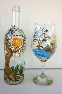 Tree of Life Wine Bottle & Glass