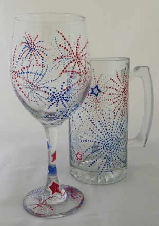 Fourth of July Wine /Beer Mug