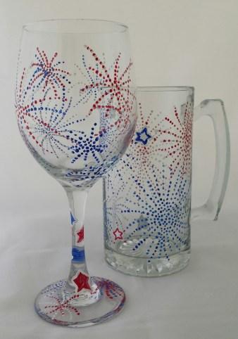 Fourth of July Wine /Beer Mug