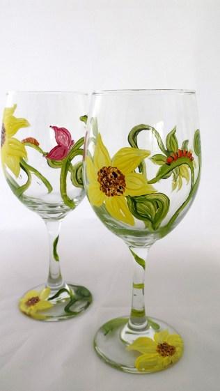 Sunflower Wine Glasses