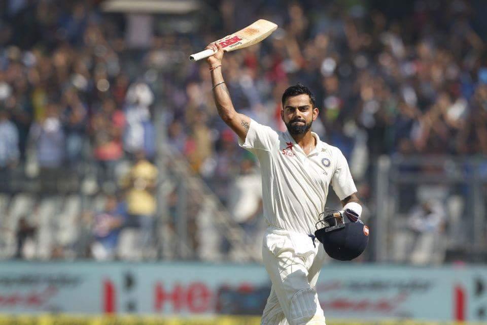 Virat Kohli celebrating Test Hundred