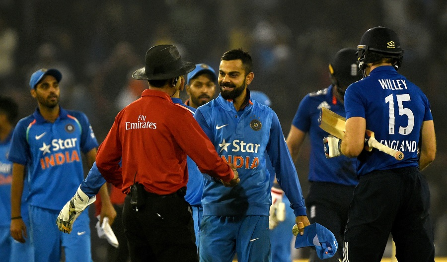 Virat Kohli handshakes umpire during India v England ODI