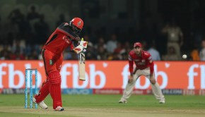 Chris Gayle of the Royal Challengers Bangalore edges the ball and is caught during match 43 of the Vivo 2017 Indian Premier League