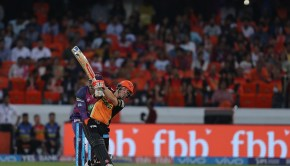 Sunrisers Hyderabad captain David Warner hits over the top for six during match 44 of the Vivo 2017 Indian Premier League