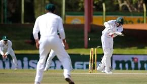 Bangladesh batsman Soumya Sarkar is bowled out by South Africa bowler Kagiso Rabada