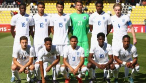 England line up for the FIFA U-17 World Cup Group B match