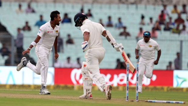 Suranga Lakmal of Sri Lanka celebrates the wicket of Shikhar Dhawan