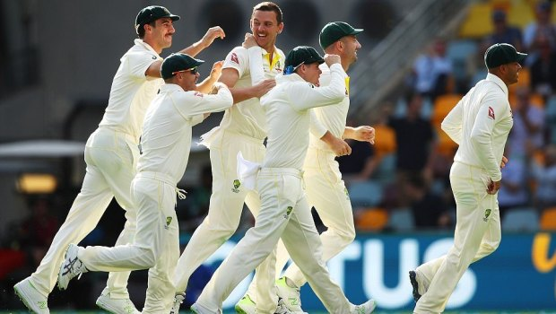 Australian players celebrating after wicket