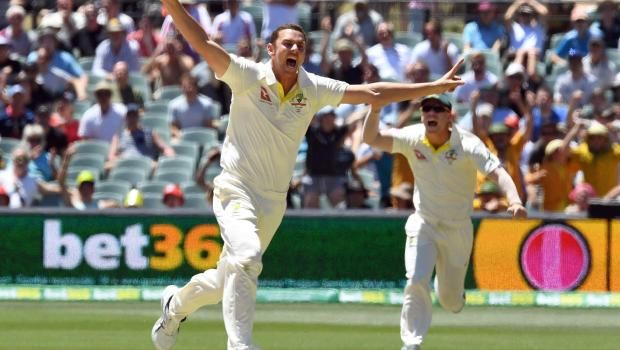 Josh-Hazlewood-kicked-off-proceedings-for-Australia-with-the-quick-wickets-of-overnight-batsmen-Chris-Woakes-and-Joe-Root-to-give-Australia-a-brilliant-start-on-the-fifth-day.
