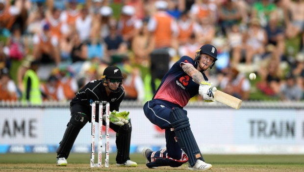 New Zealand keeper Tom Latham looks on as Ben Stokes