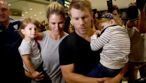 David Warner with wife after ball tampering saga