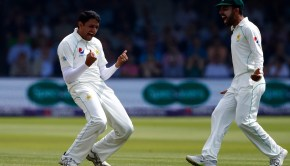 Mohammad Abbas of Pakistan celebrates taking the wicket of Jos Buttler