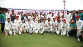 India are crowned champions during day two of the test match between India and Afghanistan