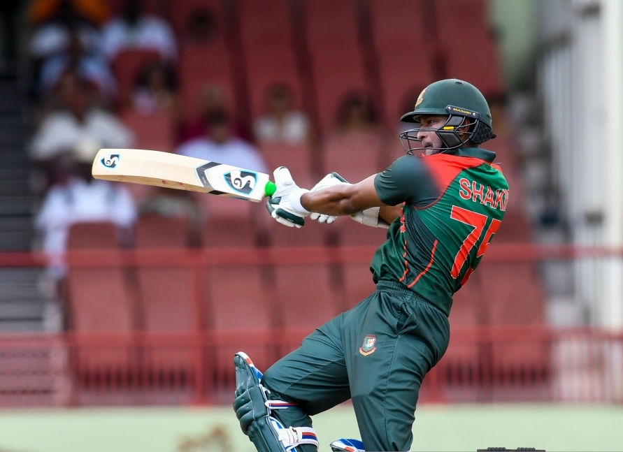 Shakib Al Hasan of Bangladesh hits 4 during the 1st ODI match between West Indies and Bangladesh