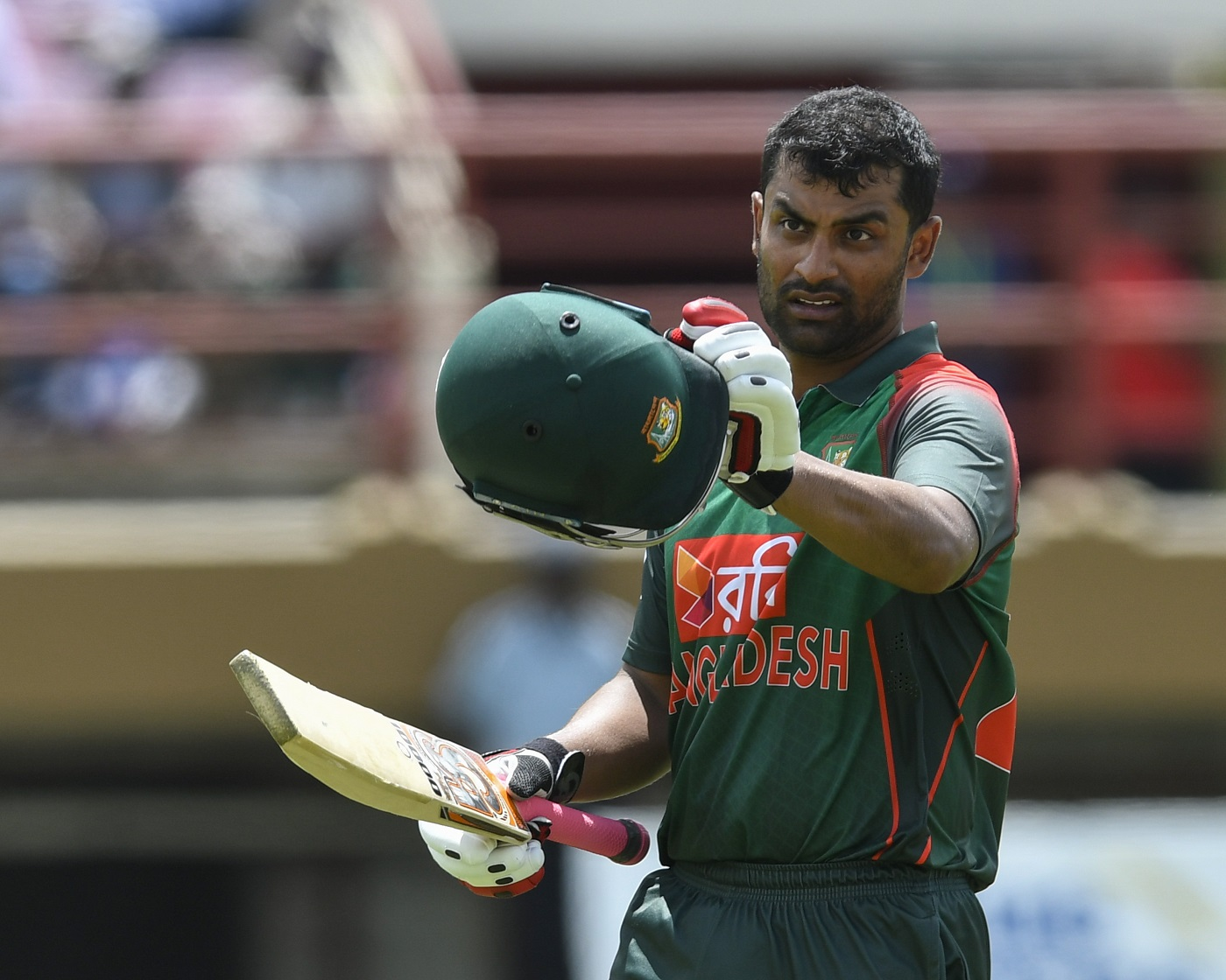 Tamim Iqbal of Bangladesh celebrates his century