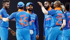 India ODI team celebrating wicket
