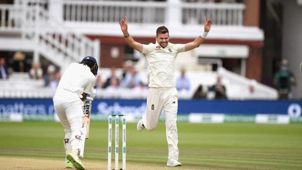 England bowler James Anderson celebrates the wicket of Murali Vijay