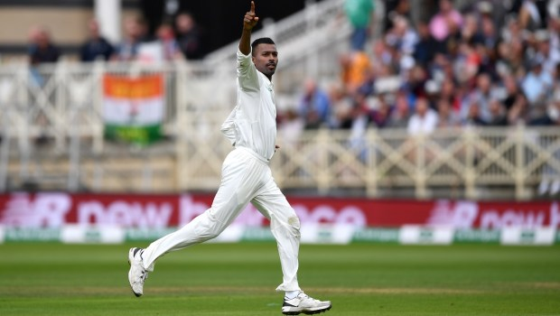 Hardik Pandya of India celebrates dismissing Jonathan Bairstow of England