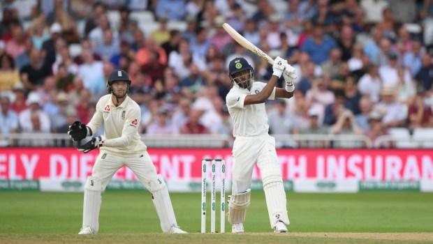 India batsman Hardik Pandya hits out watched by Jos Buttler