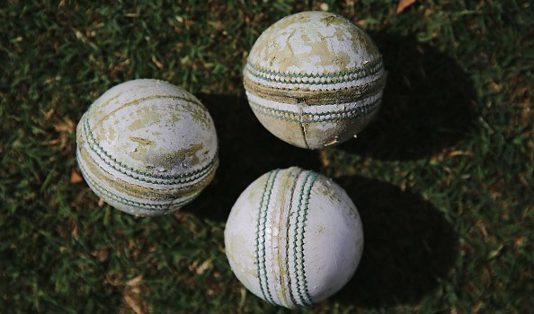 White cricket balls are seen during the WBBL match between the Stars and Sixers