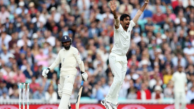 India's Jasprit Bumrah celebrates taking the wicket