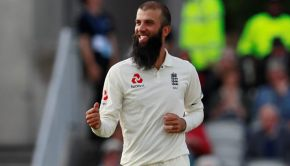 Moeen Ali celebrates taking the wicket