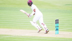 Kraigg Brathwaite of the West Indies works the ball away for a single