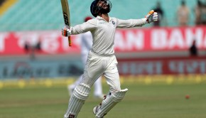 Indian cricketer Ravindra Jadeja celebrates his century