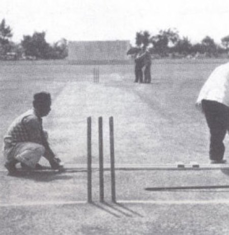 Preparing the pitch at the start of the tenth and final day. Image Courtesy: ESPNcricinfo