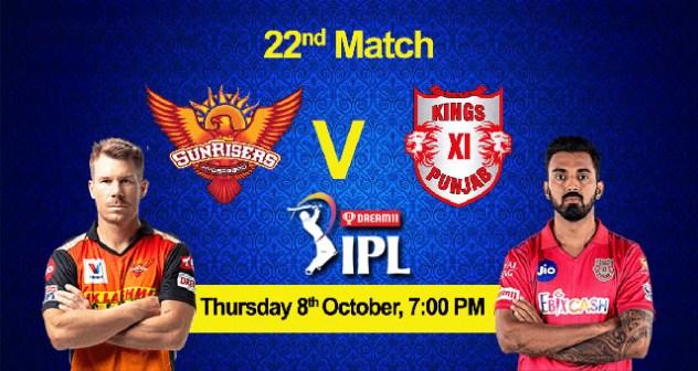 SRH vs KXIP 22nd Match Live Stream