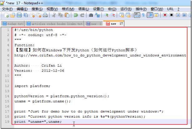 copied python code