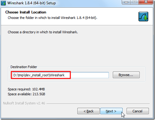 choose install location for wireshark