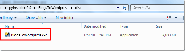 dist include one exe file