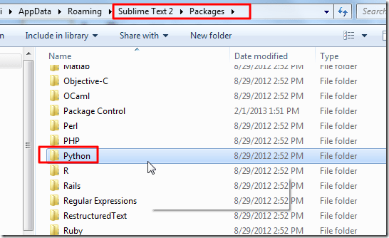 Sublime Text 2 Packages Python