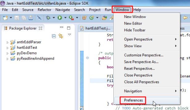 eclipse window preferences