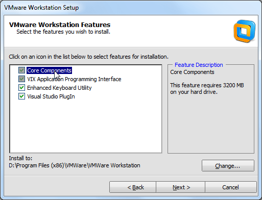 vmware workstation core components