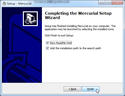 completing the mercurial setup wizard