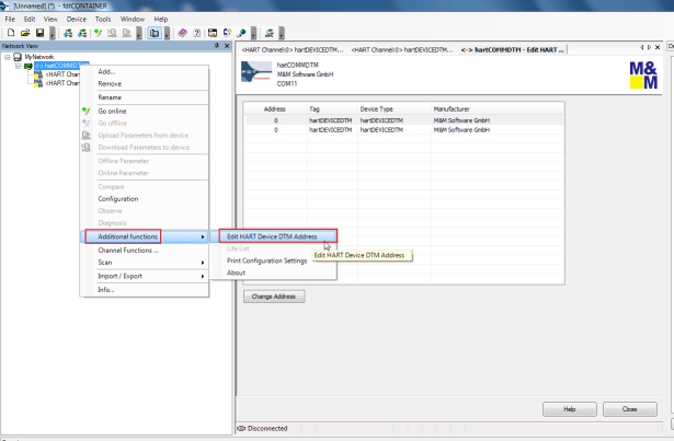 additional functions edit hart device dtm address